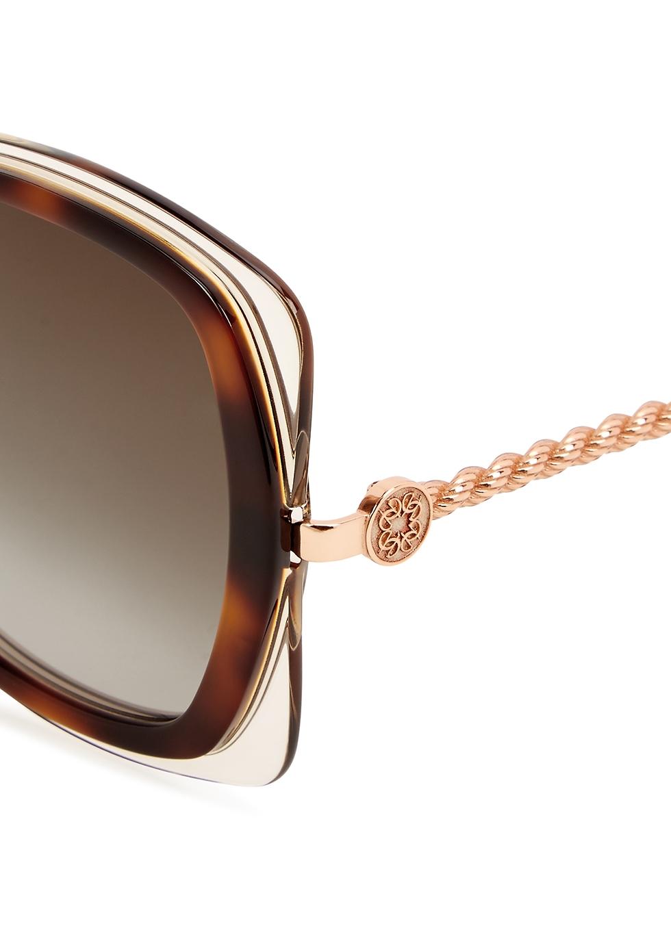 Tortoiseshell oversized sunglasses - Elie Saab
