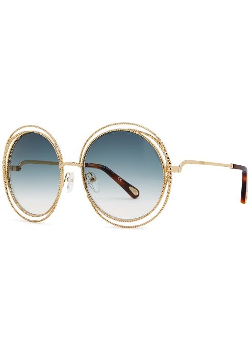 e698aedb31c Chloé Carlina oversized round-frame sunglasses - Harvey Nichols