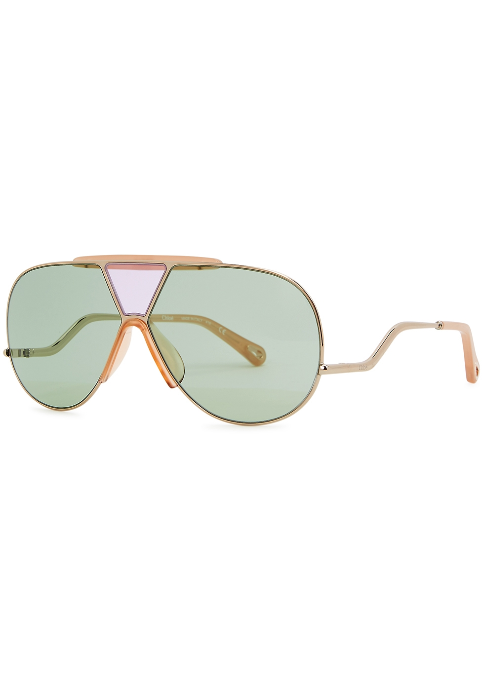 Pale gold-tone aviator-style sunglasses - Chloé