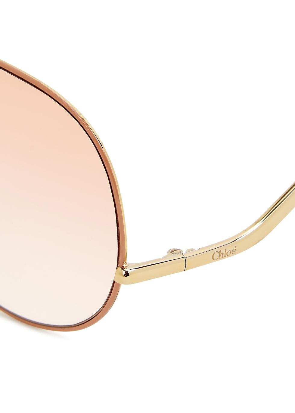 Gold-tone aviator-style sunglasses - Chloé