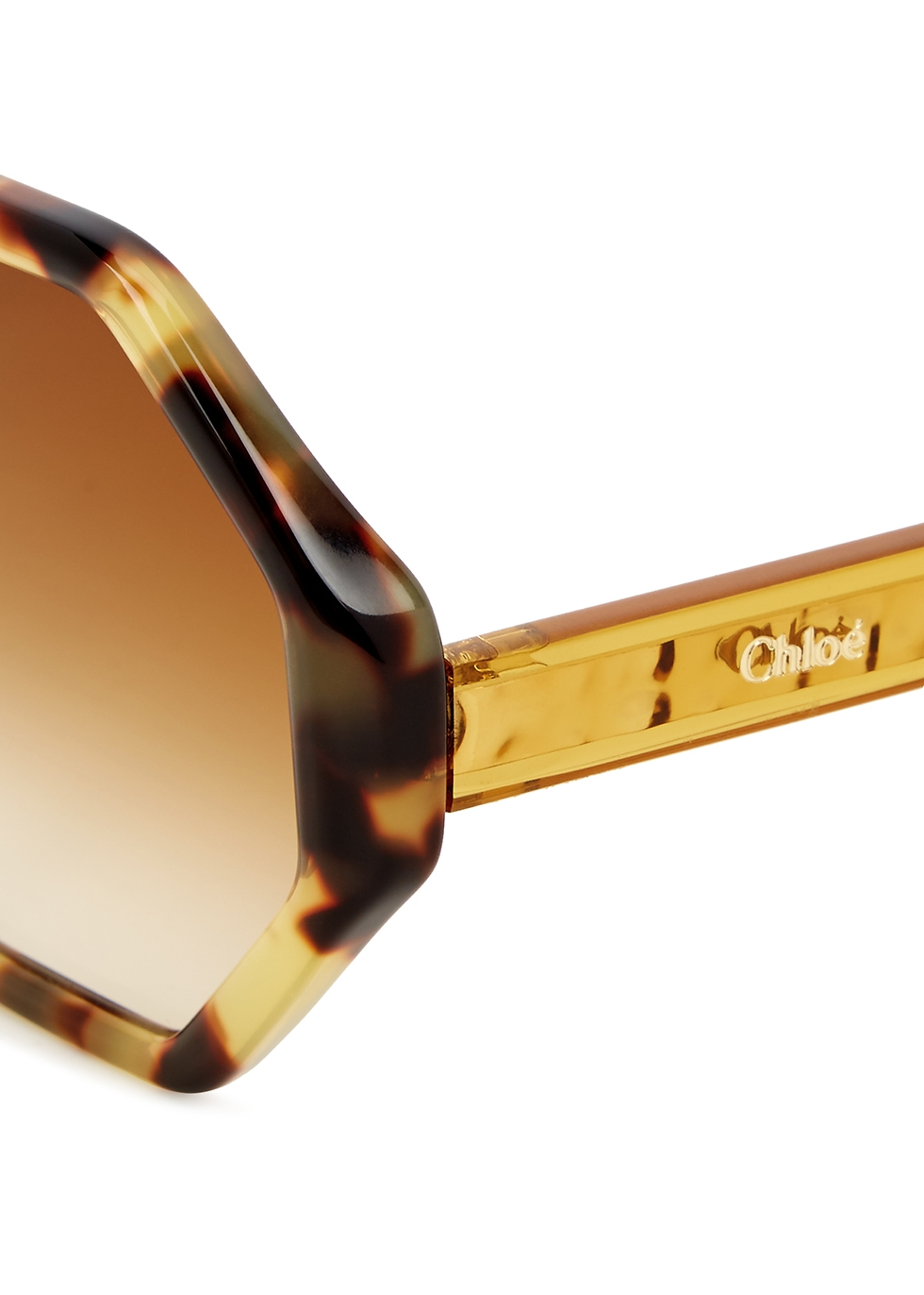 Tortoiseshell hexagonal-frame sunglasses - Chloé