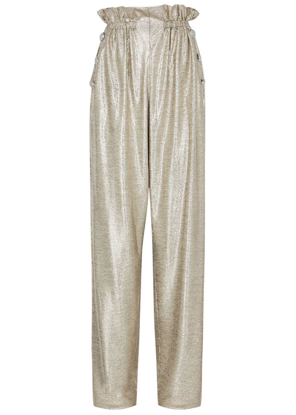Silver wide-leg coated-knit trousers - Balmain