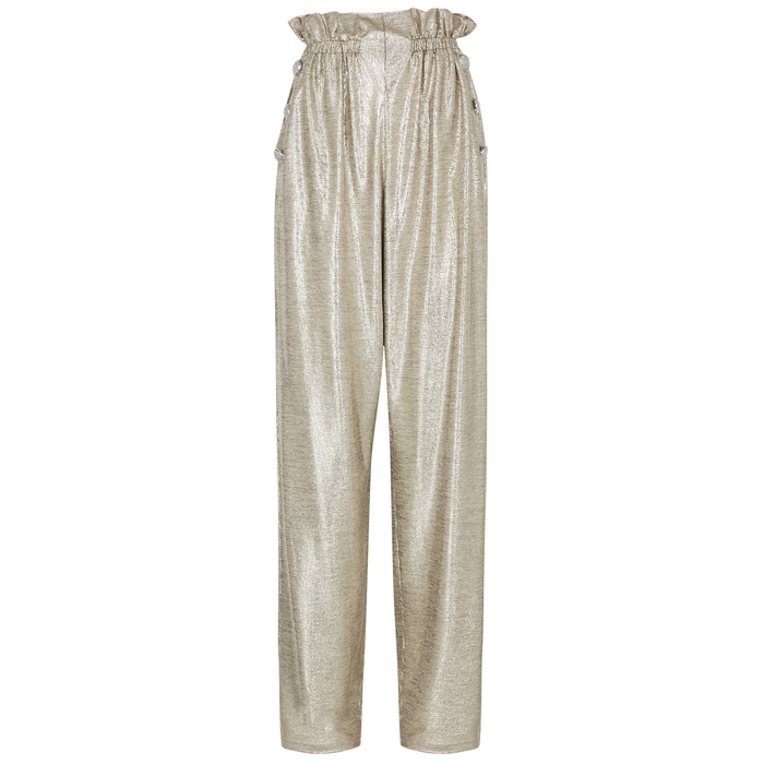 Balmain Coats SILVER WIDE-LEG COATED-KNIT TROUSERS