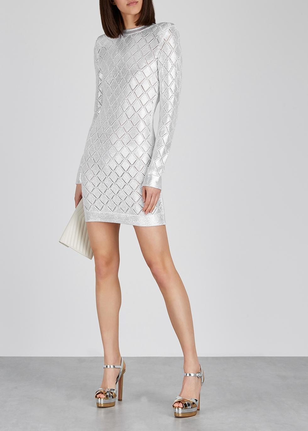 Silver stretch-knit mini dress - Balmain