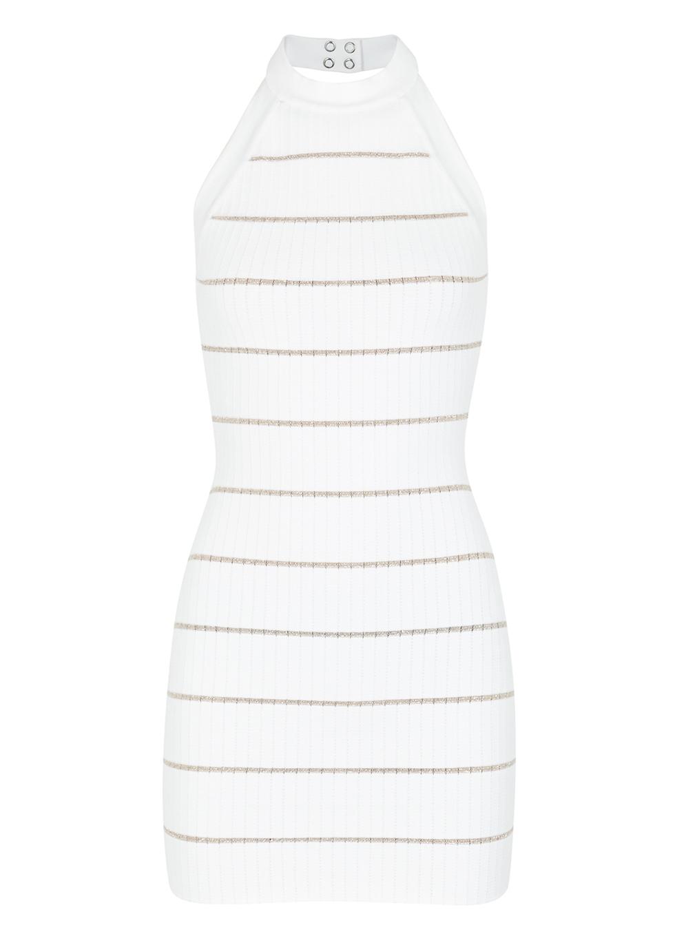 White striped stretch-knit mini dress - Balmain