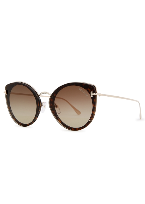 153bc9043d Tom Ford Eyewear Jess tortoiseshell round-frame sunglasses - Harvey ...