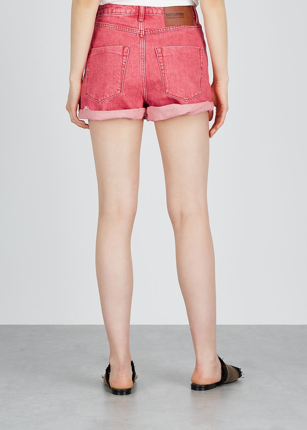 Bandit red distressed denim shorts - Oneteaspoon
