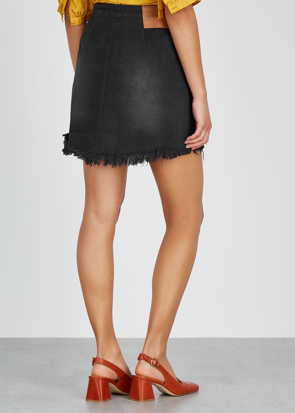 Vixen distressed denim mini skirt - Oneteaspoon