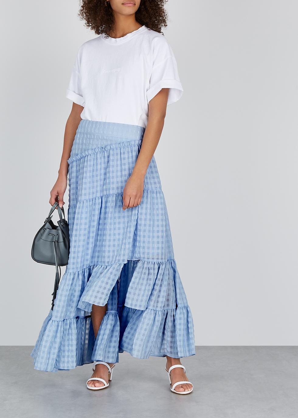 Periwinkle checked chiffon maxi skirt - 3.1 Phillip Lim