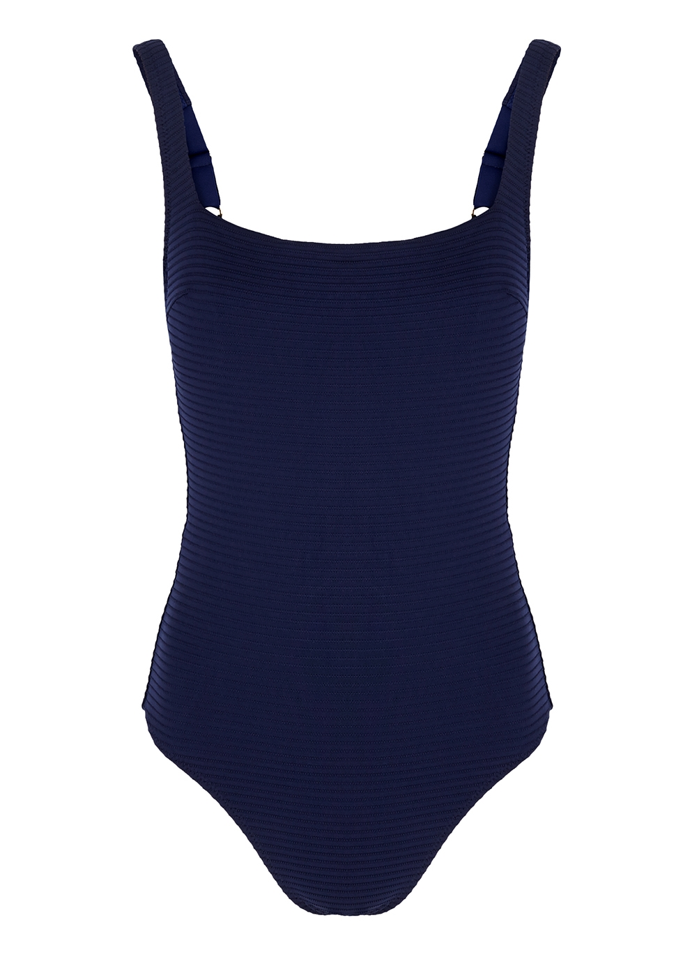 Navy ribbed lace-up swimsuit - heidi klein body