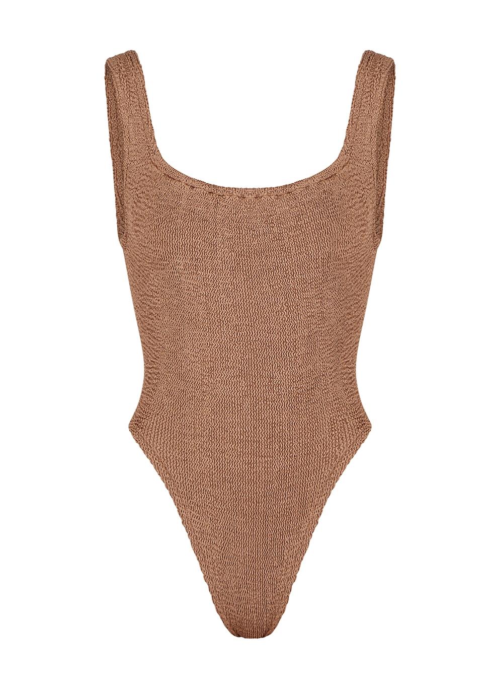 HUNZA G | Hunza G Classic Brown Seersucker Swimsuit | Goxip