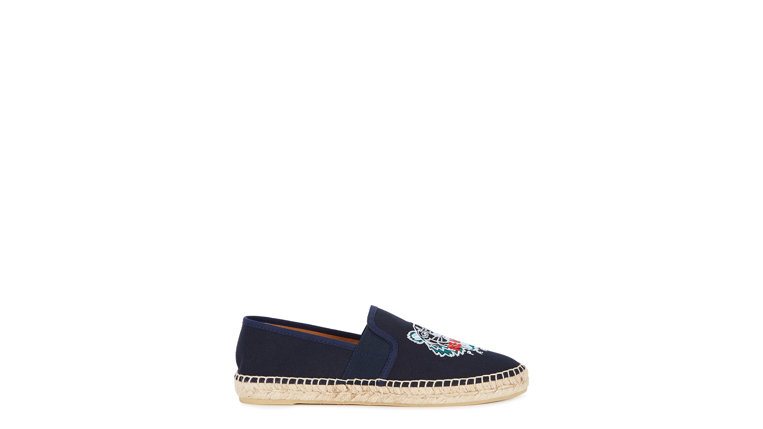 f05d0a23 Navy tiger-embroidered canvas espadrilles