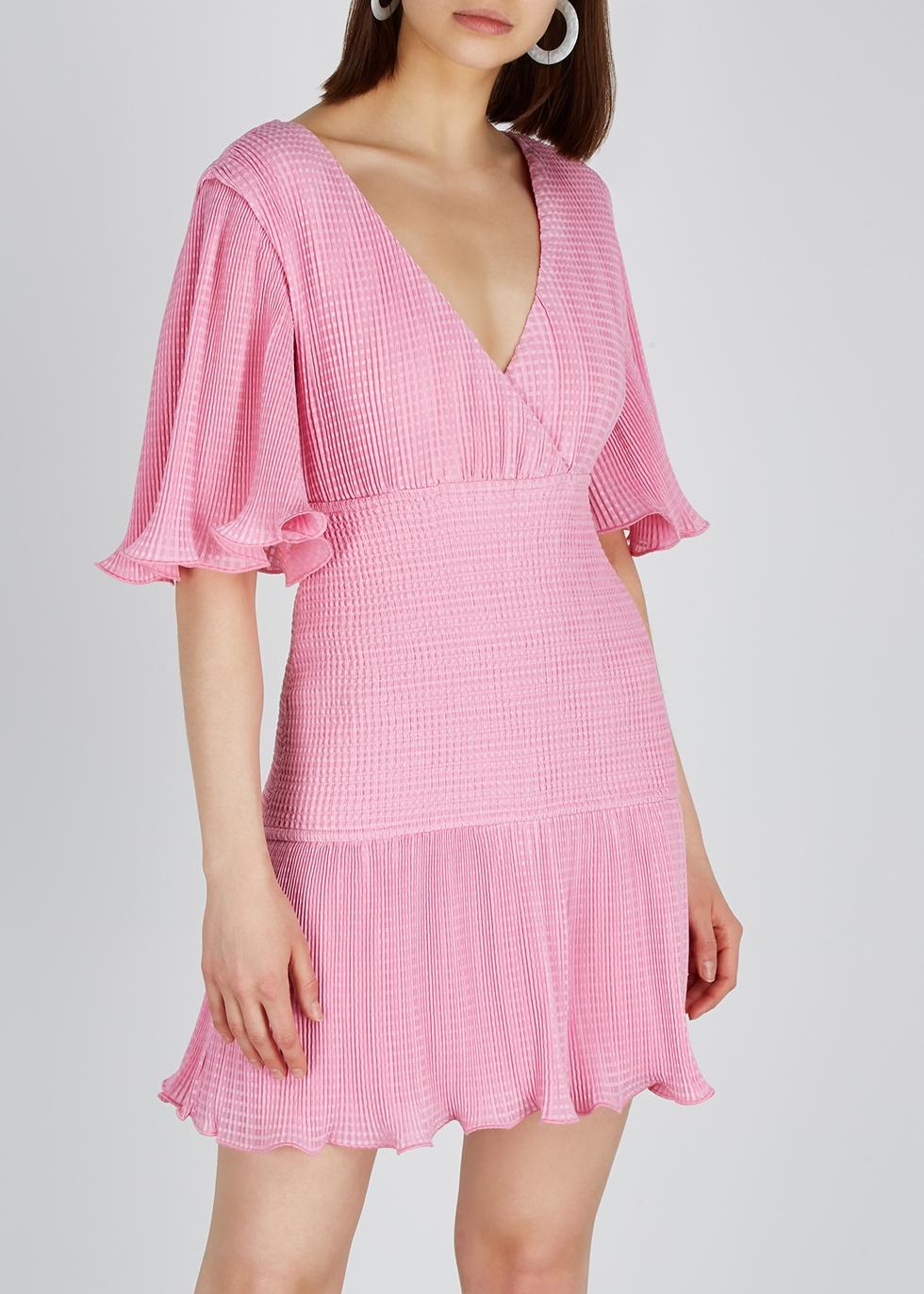 Clarity pink ruffled plissé mini dress - KEEPSAKE