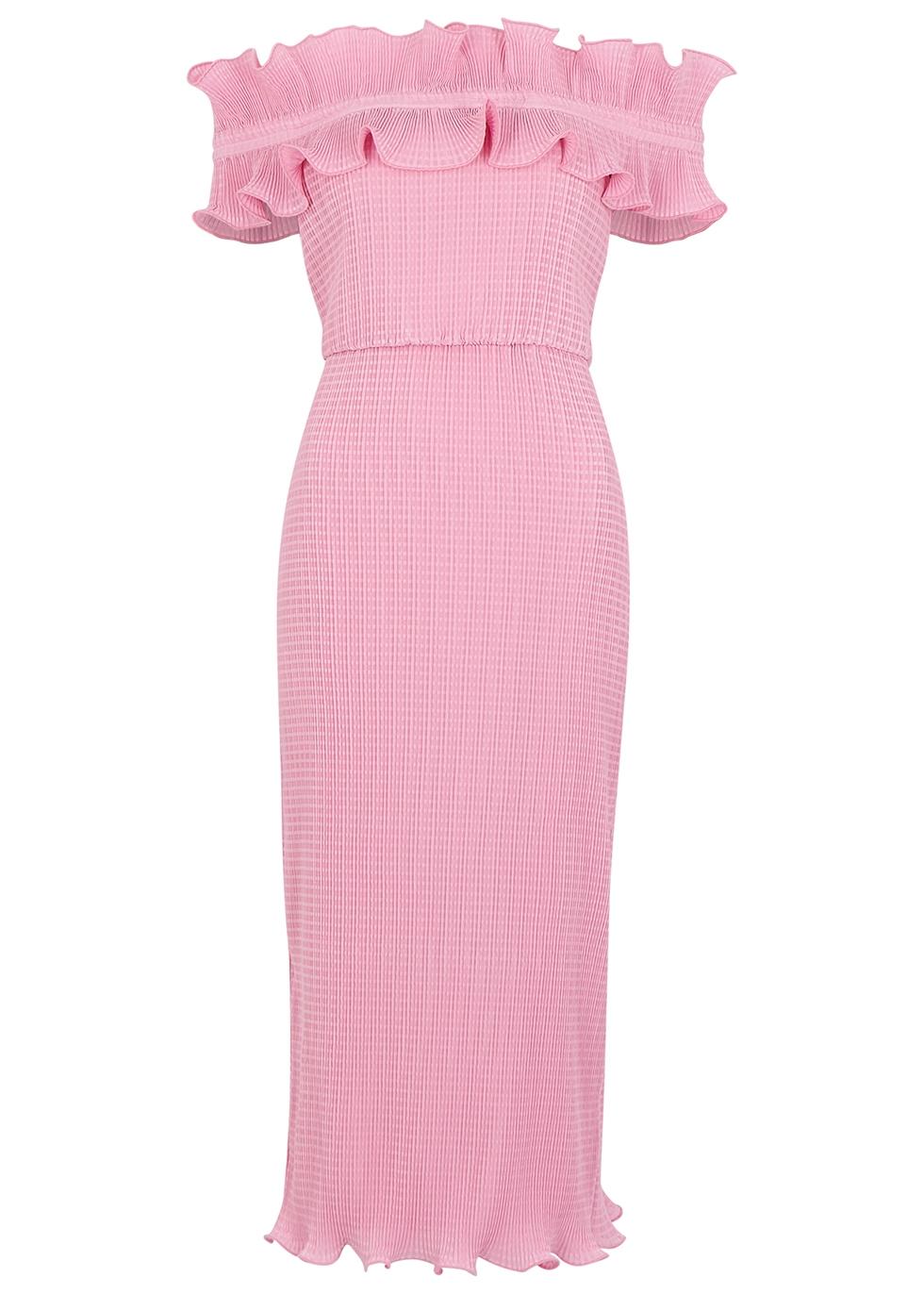 Clarity off-the-shoulder plissé midi dress - KEEPSAKE