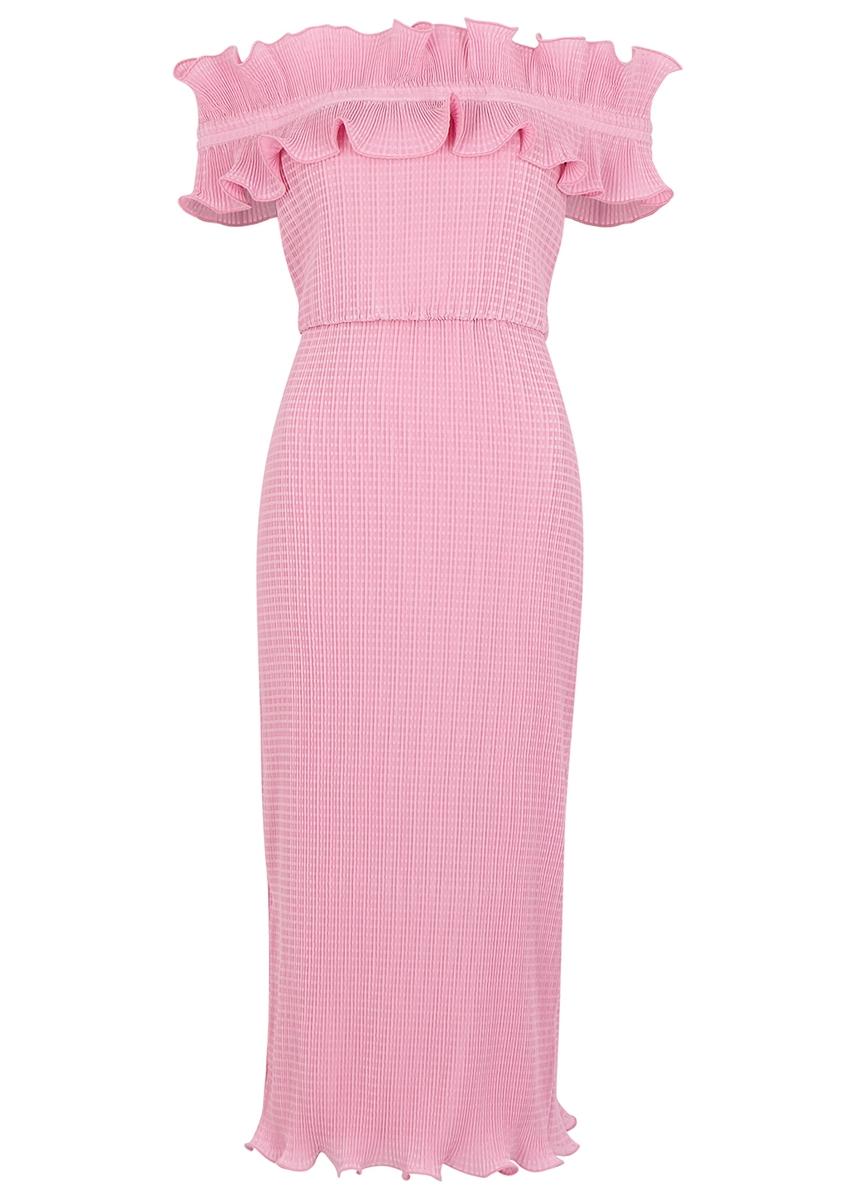 8f6e167f5 Clarity off-the-shoulder plissé midi dress ...