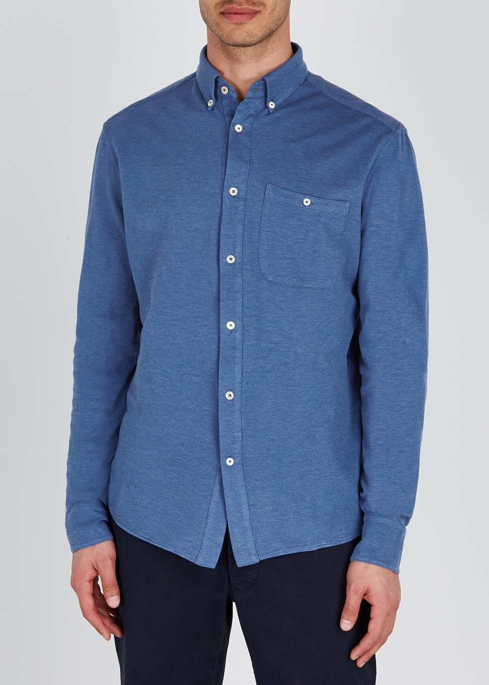 Blue cotton piqué polo shirt - A Kind of Guise