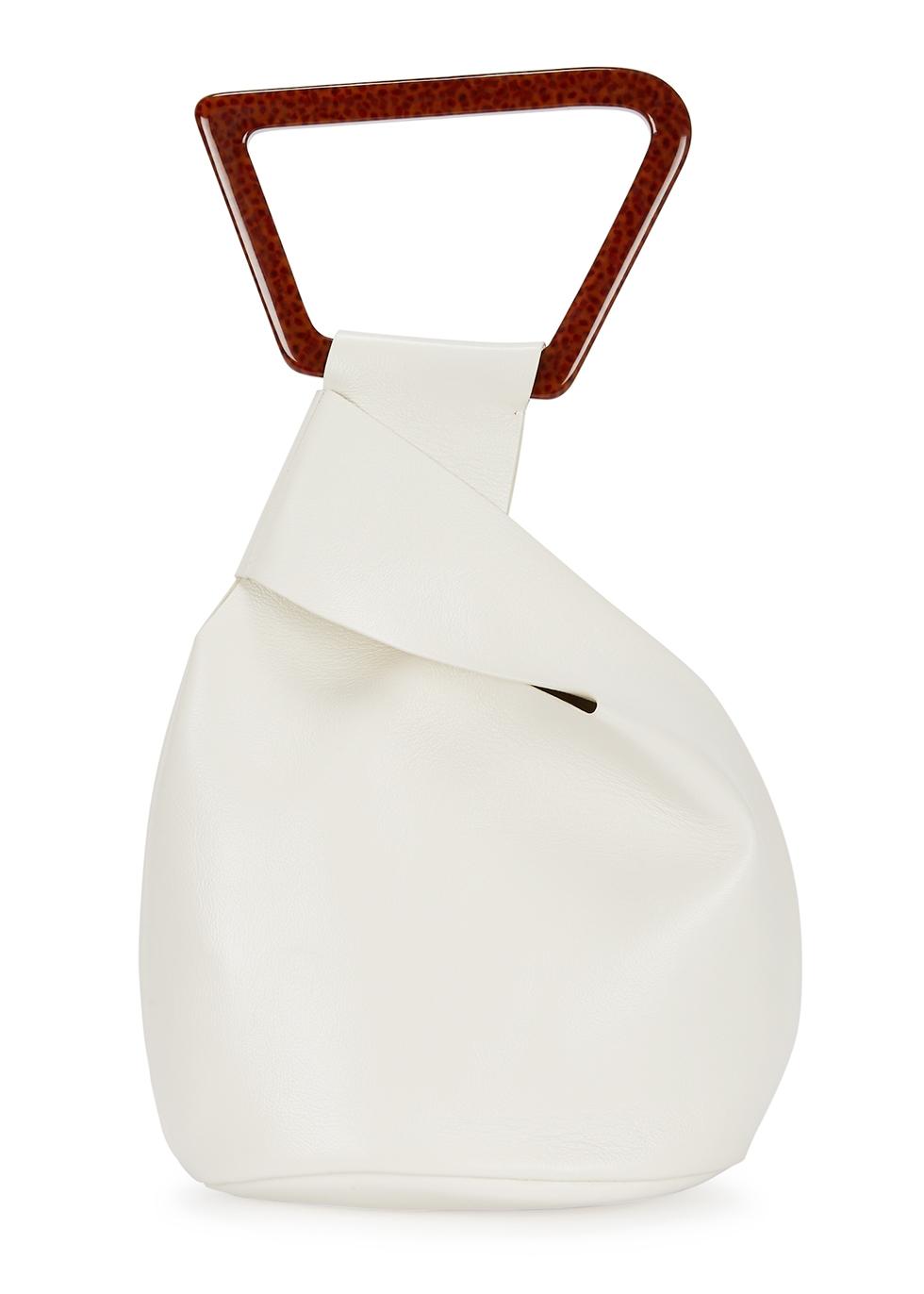 Astraea white leather top-handle bag - Cult Gaia