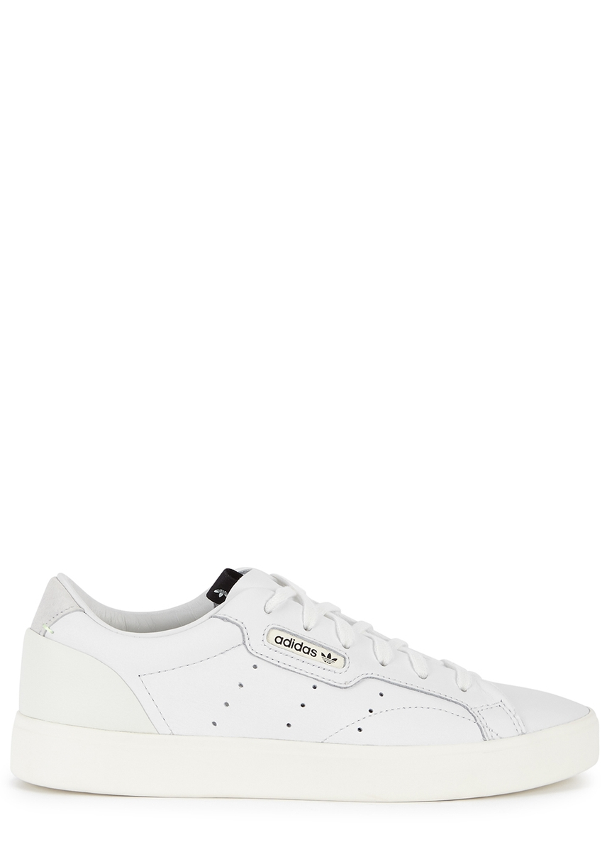info for e44f6 1e41c adidas Originals. Stan Smith white and gold leather trainers. £75.00 · X  Sleek white leather trainers ...