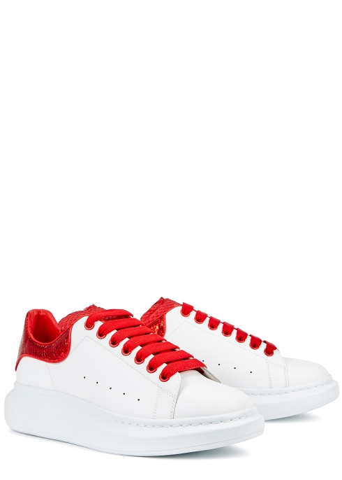 6ea504bb1a82 Alexander McQueen Larry python and leather trainers - Harvey Nichols