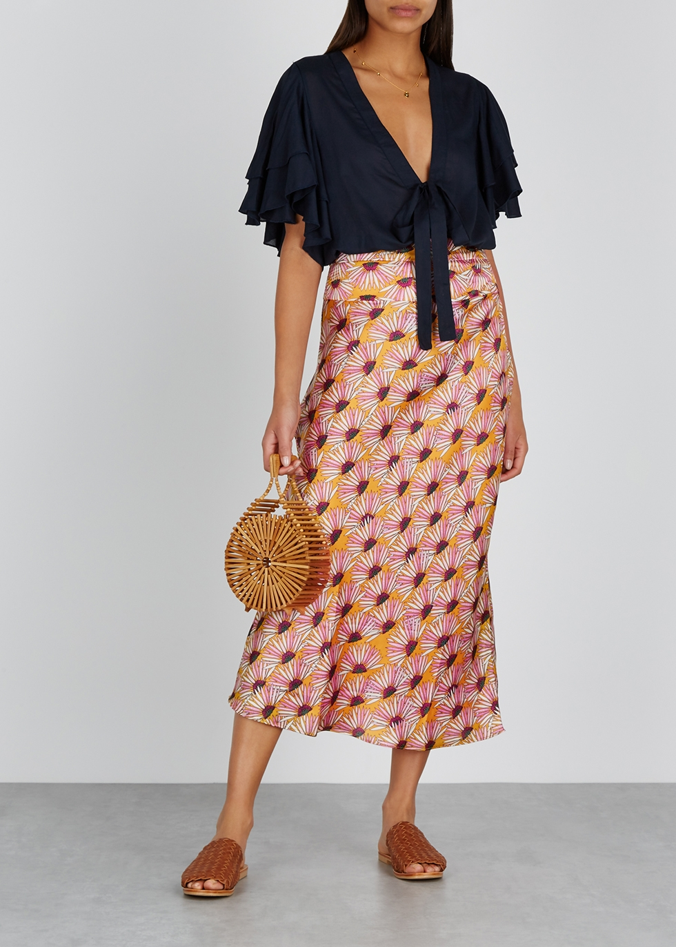 Normani floral-print midi skirt - Free People