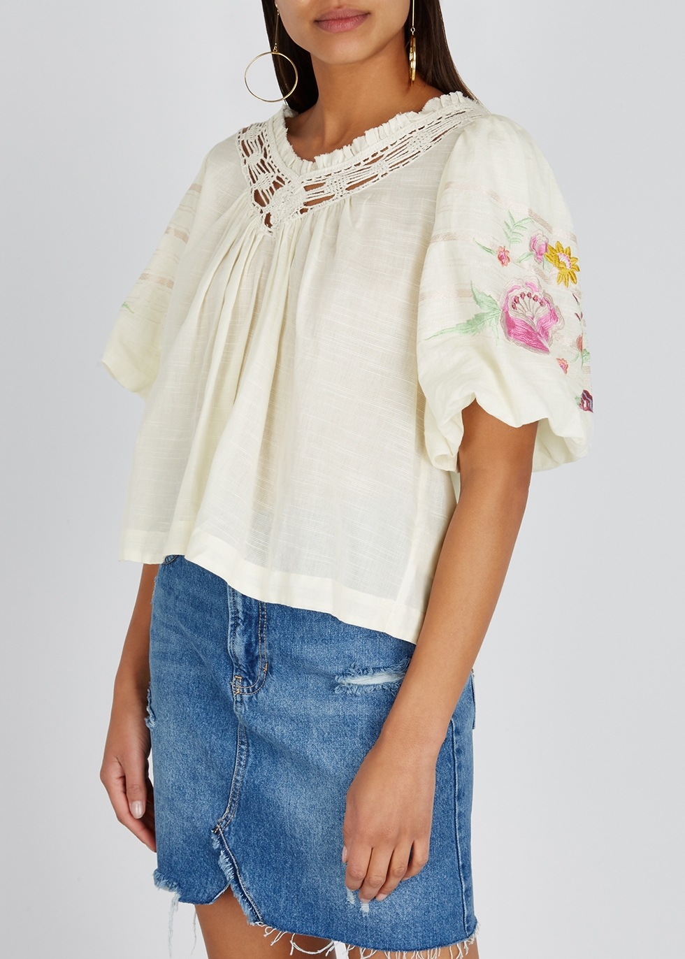 Bohemia embroidered gauze top - Free People