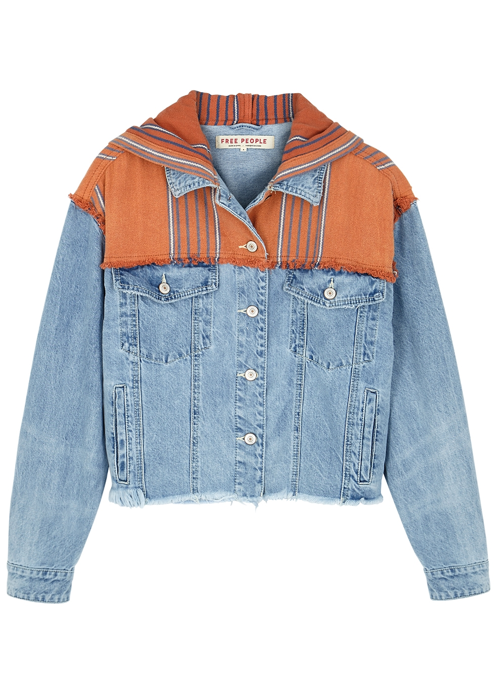 Baja blue hooded denim jacket - Free People