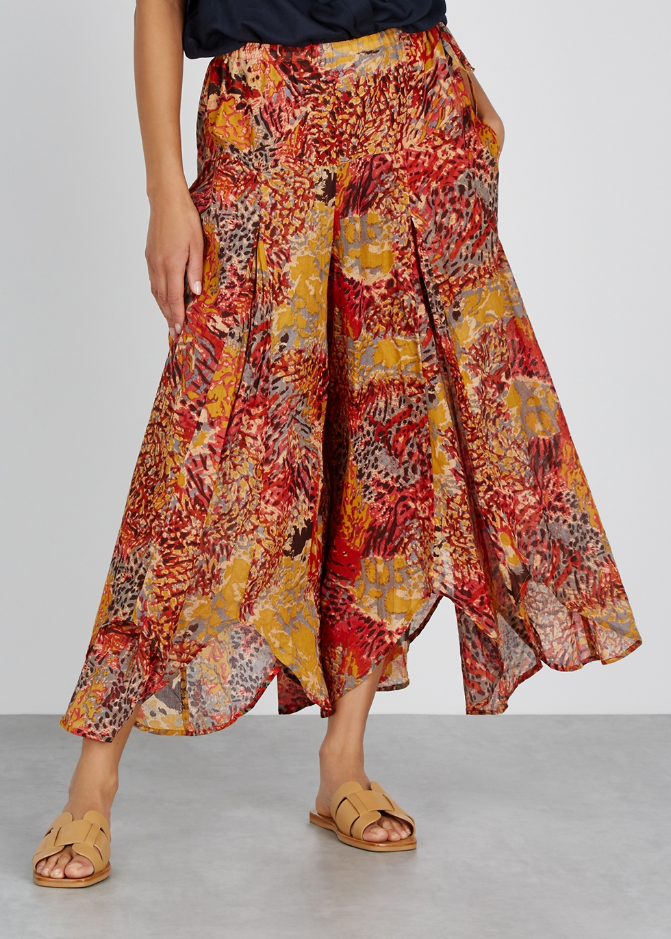 Fallon printed wide-leg trousers - Free People