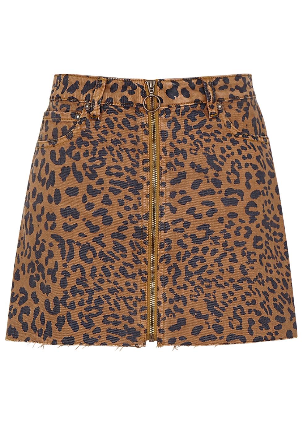 Zip It Up leopard-print denim mini skirt - Free People