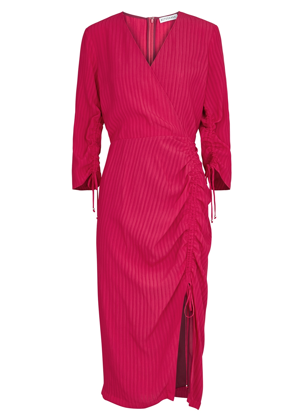 Oriana raspberry ruched midi dress - Altuzarra