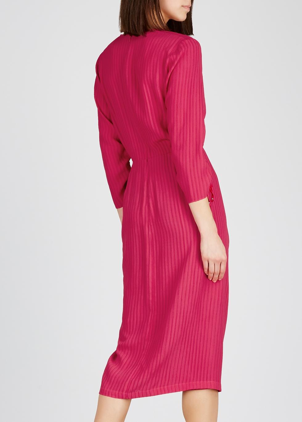 Oriana raspberry ruched midi dress - Altuzarra