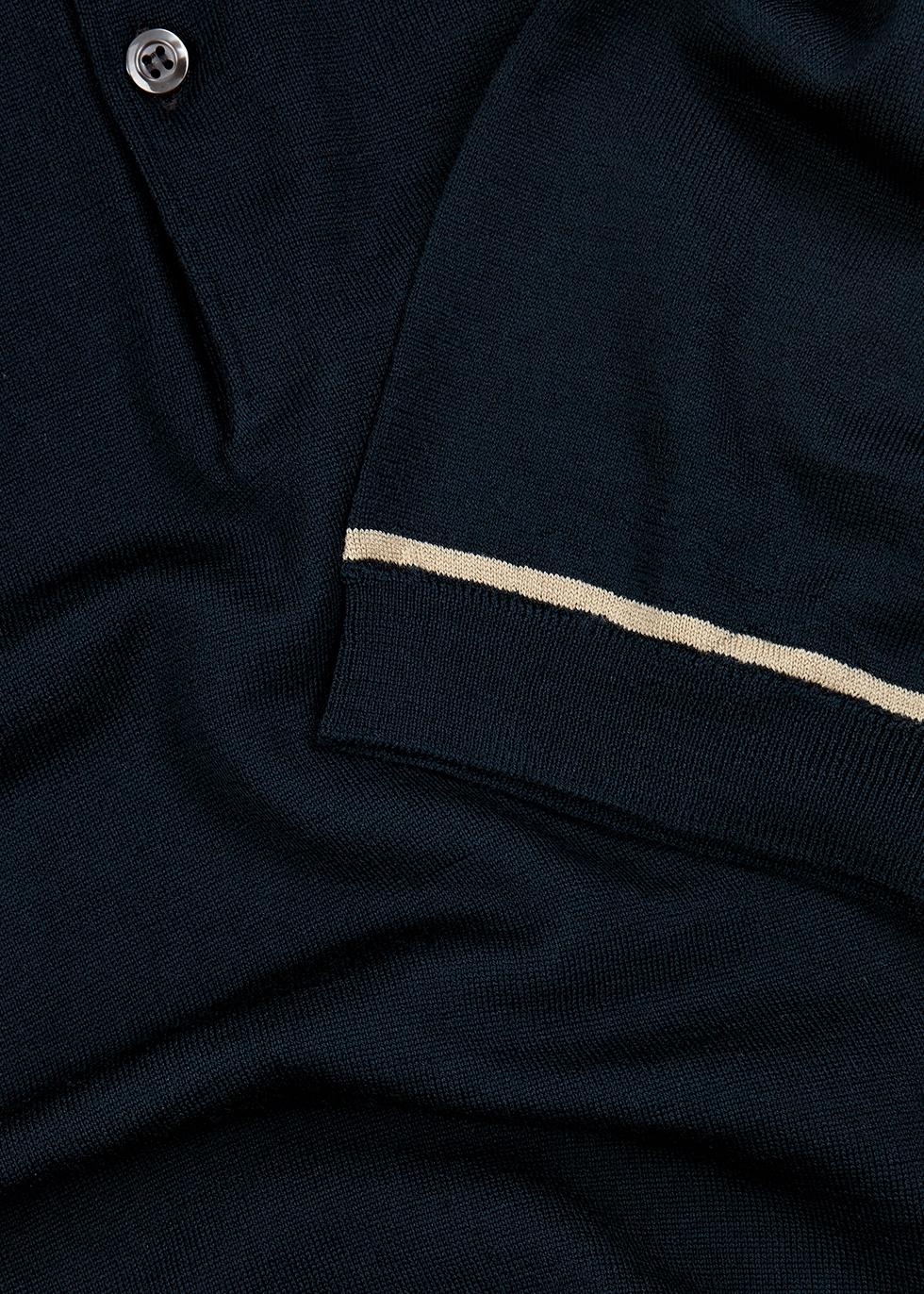 Beekroft dark teal wool polo shirt - John Smedley