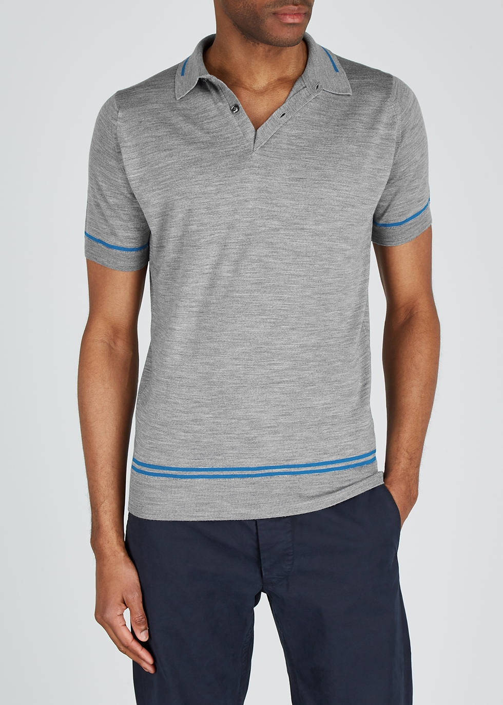 Beekroft grey wool polo shirt - John Smedley