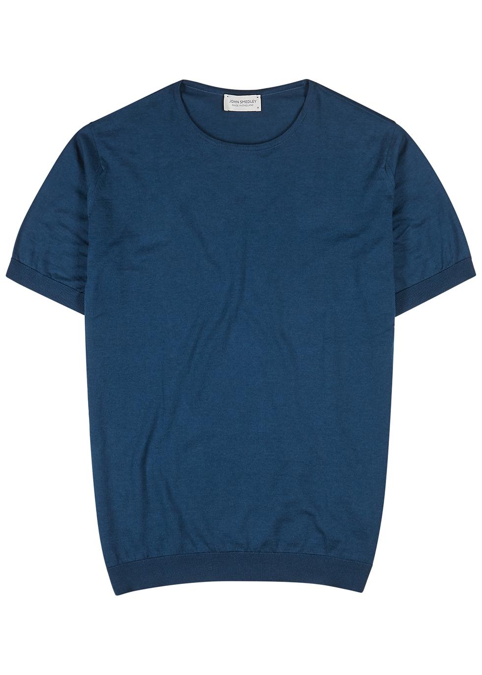 Belden navy knitted-cotton T-shirt - John Smedley