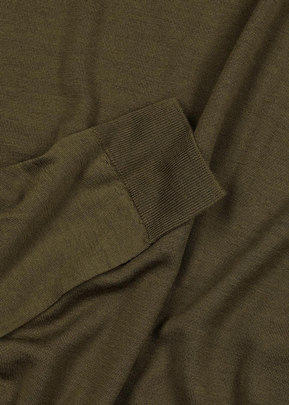 Lundy dark olive wool jumper - John Smedley