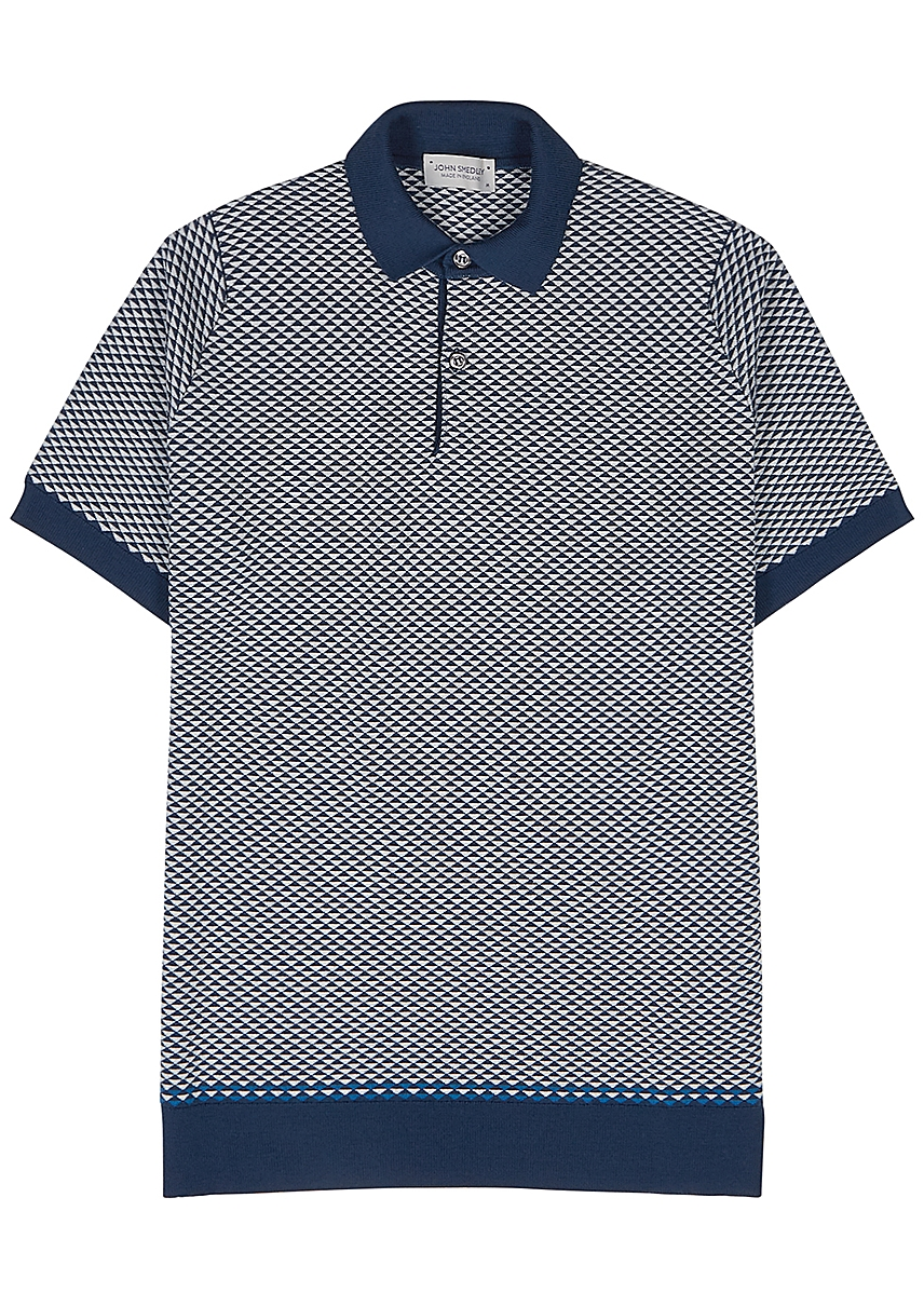 69b76d80 Observe jacquard-intarsia knitted wool polo shirt ...