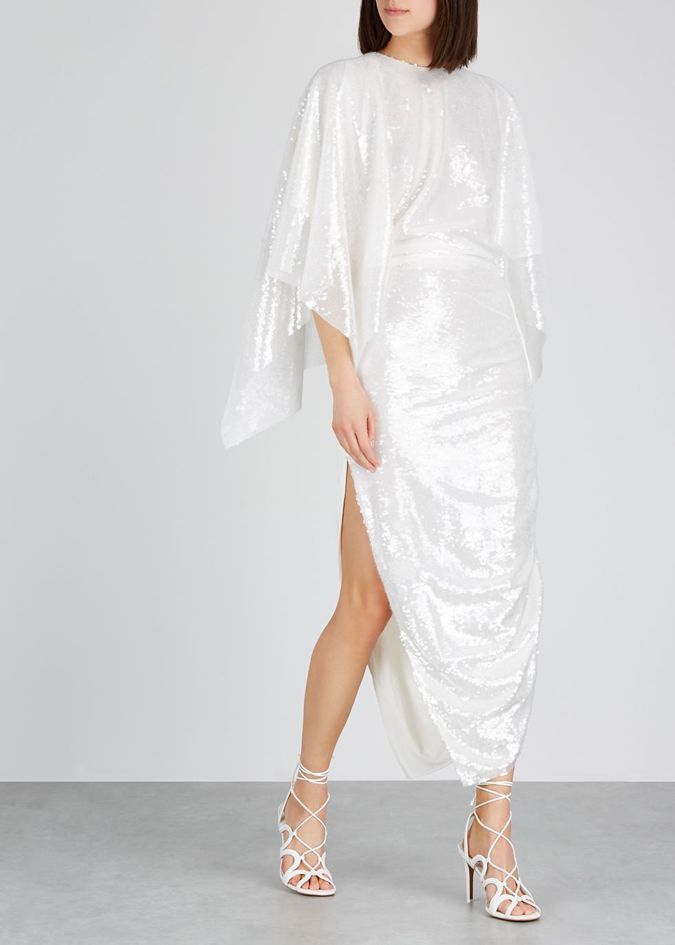 Sequinned cape-effect jersey dress - Paula Knorr