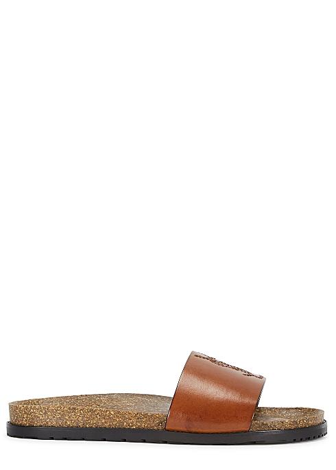 d8ace1138e28 Saint Laurent Jimmy brown logo leather sliders - Harvey Nichols