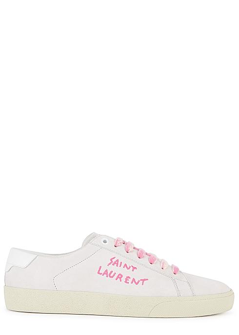 799f8c38a28 Saint Laurent Court pale pink brushed suede trainers - Harvey Nichols
