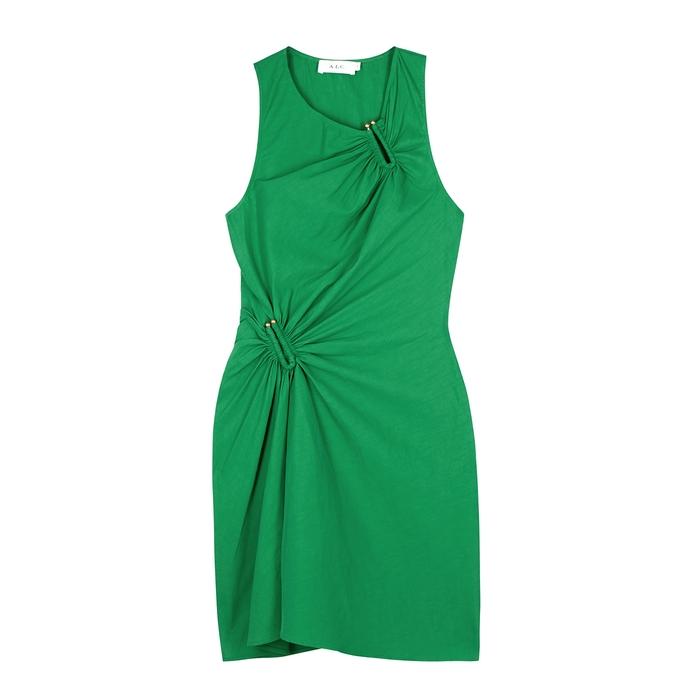 A.l.c Dresses JINA GREEN LINEN-BLEND MINI DRESS