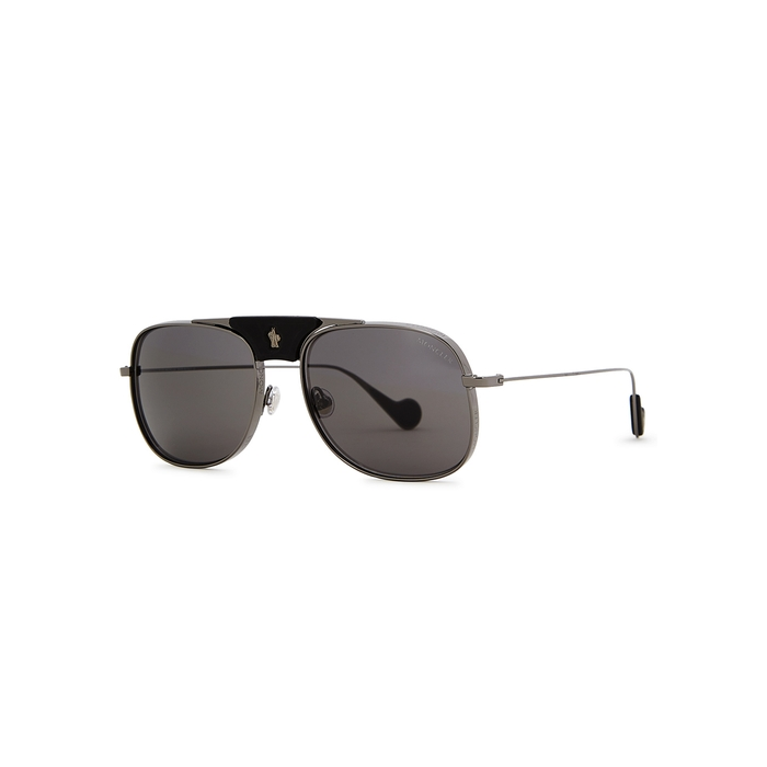 Moncler Gunmetal Aviator-style Sunglasses