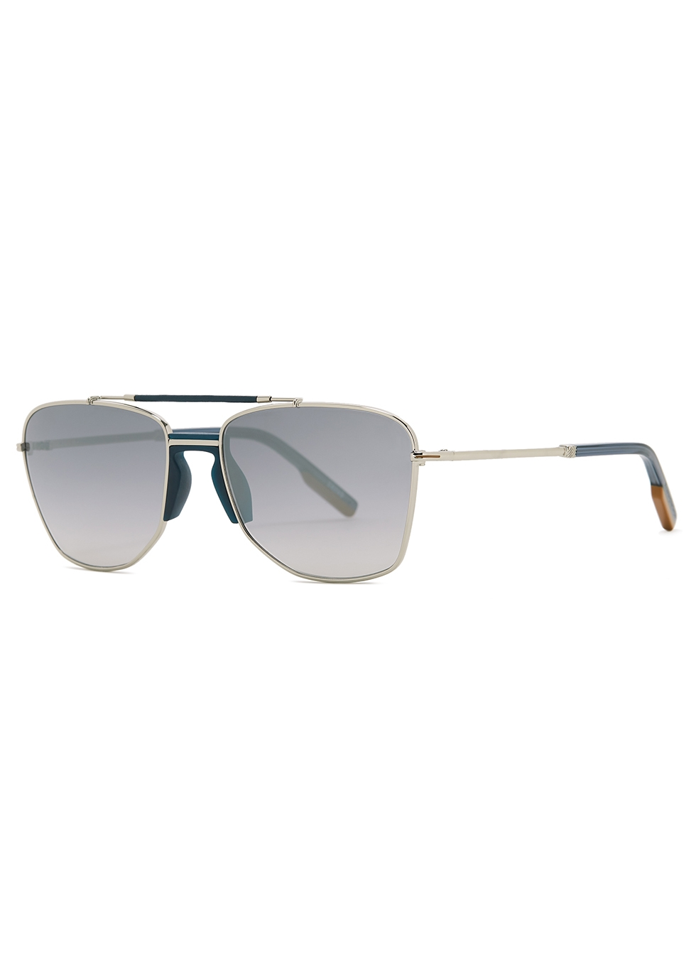 Silver-tone aviator-style sunglasses - Ermenegildo Zegna