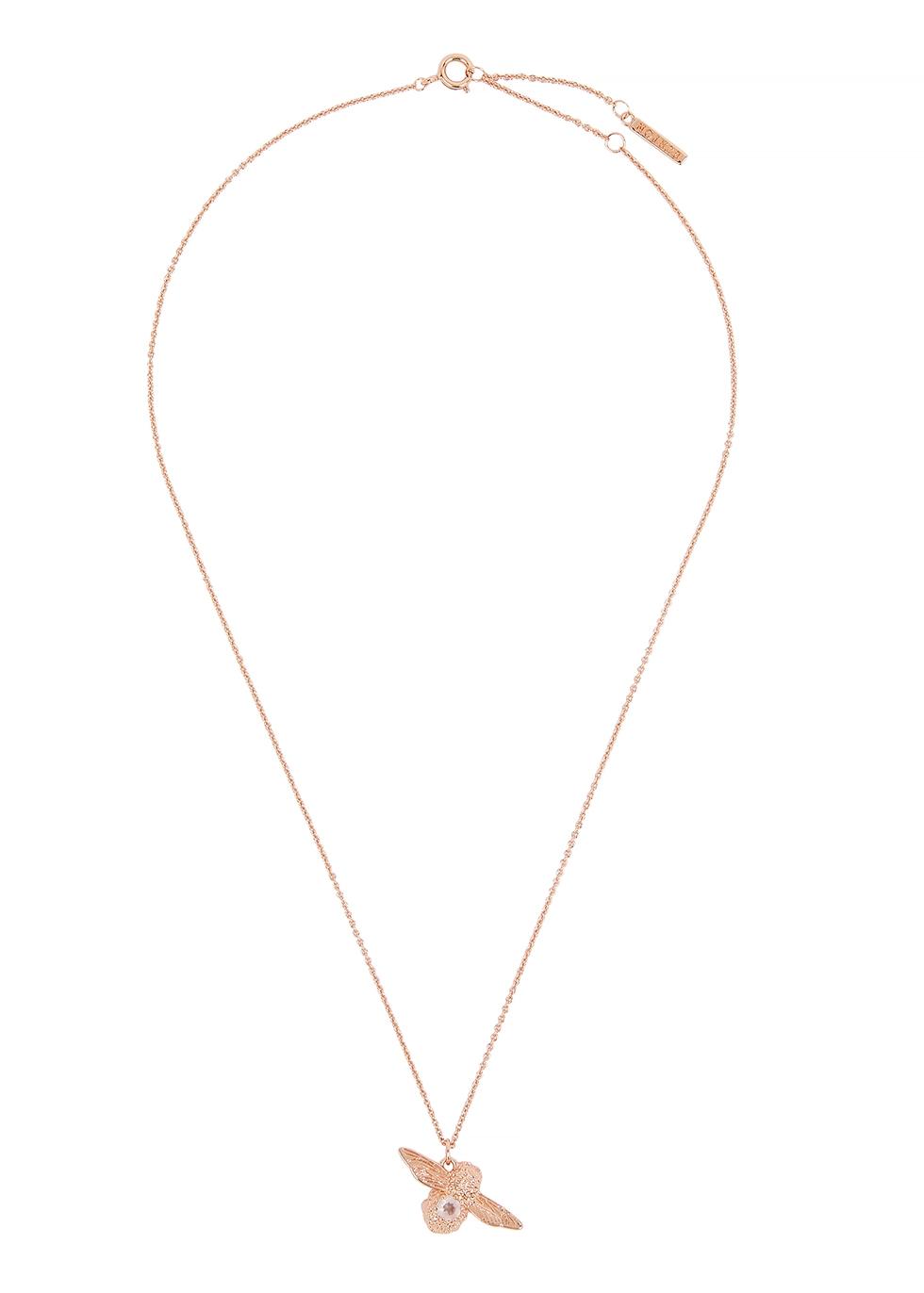 OLIVIA BURTON | Olivia Burton Bejewelled Bee Rose Gold-Plated Necklace | Goxip