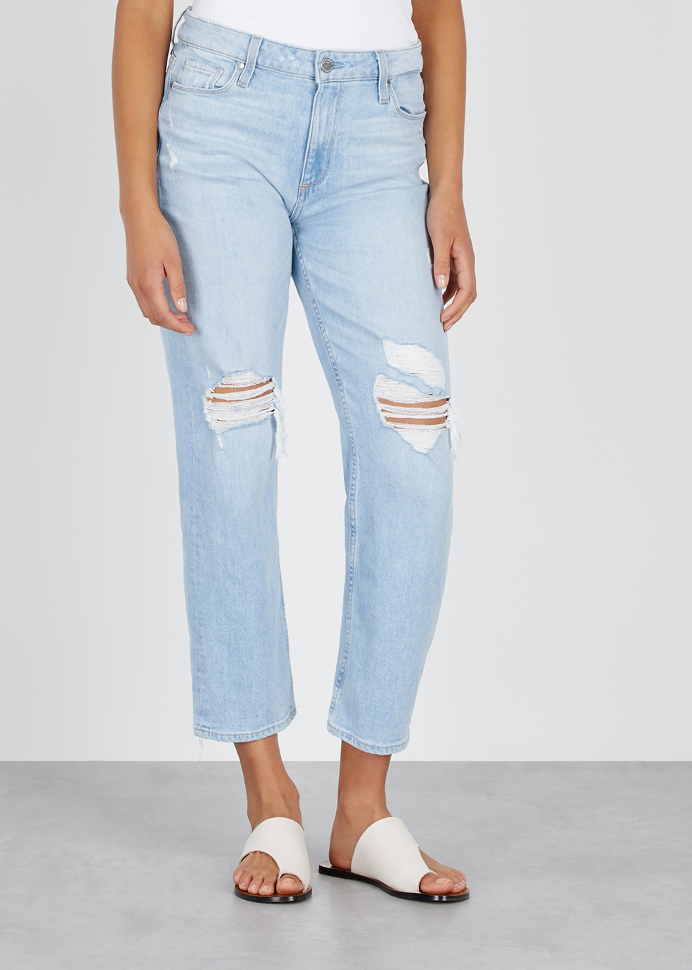 Noella ripped straight-leg jeans - Paige