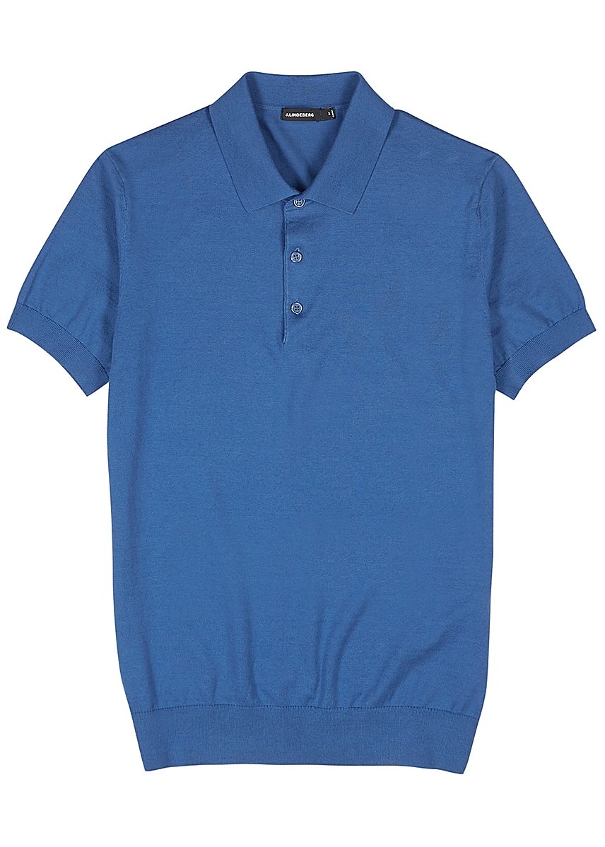 66899819 Ridge blue fine-knit cotton-blend polo shirt ...