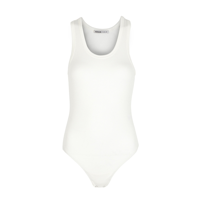 Agolde Suits WHITE RIBBED MODAL-BLEND BODYSUIT