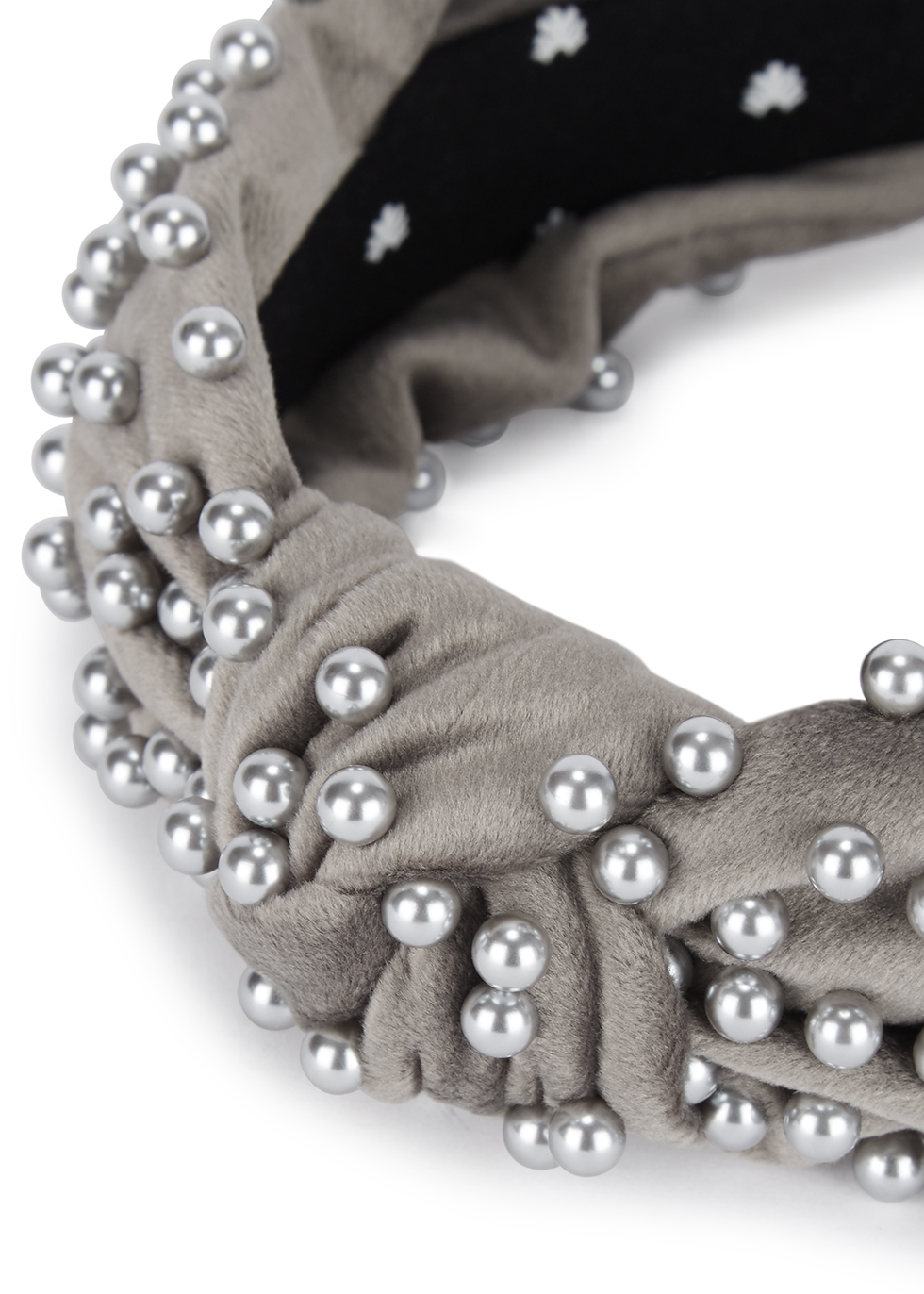 Grey embellished velvet headband - Lele Sadoughi