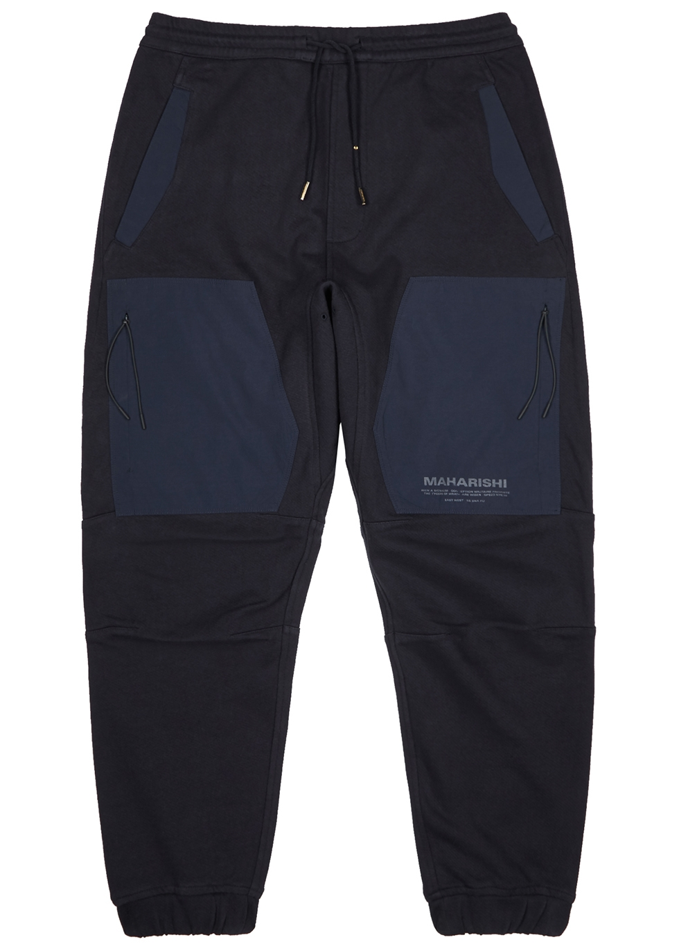 Navy cotton and recycled nylon sweatpants - maharishi