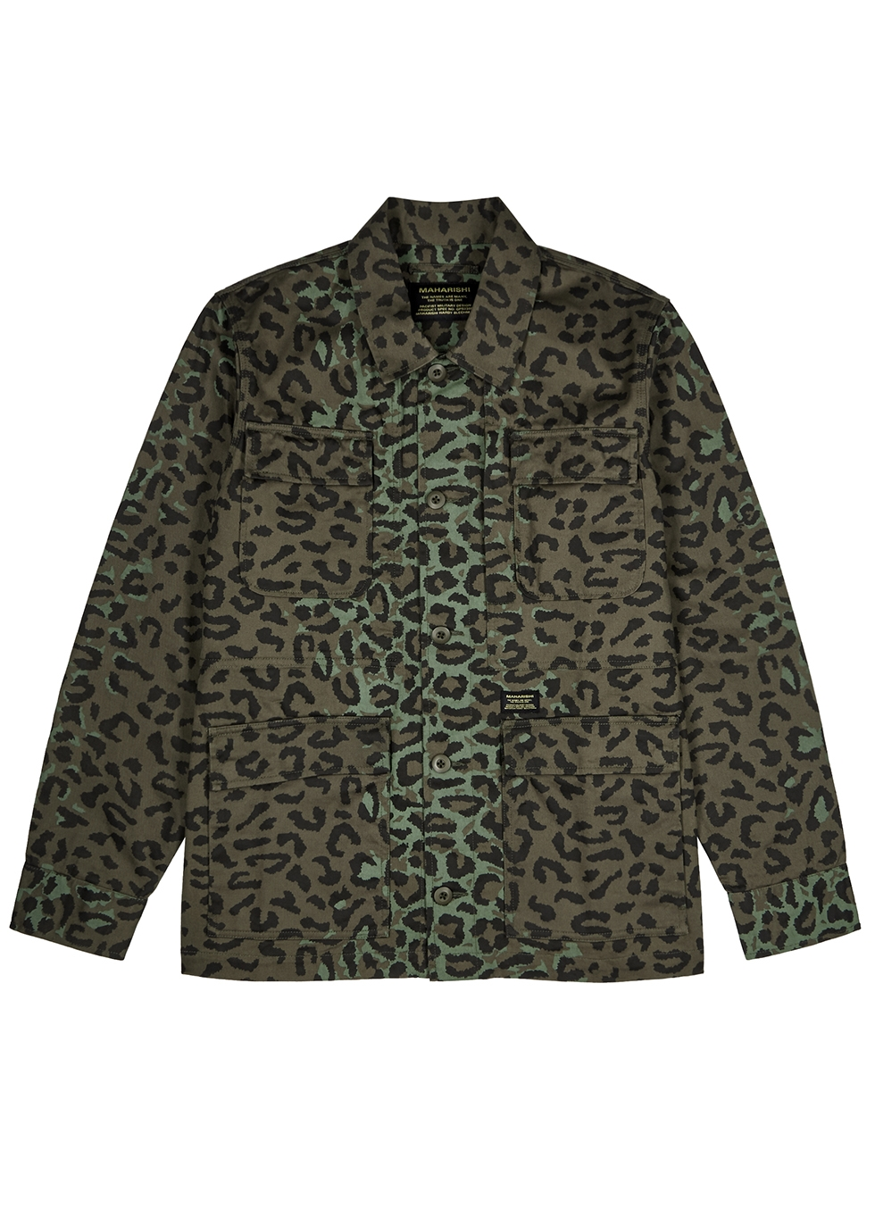 Army green leopard-print denim jacket - maharishi