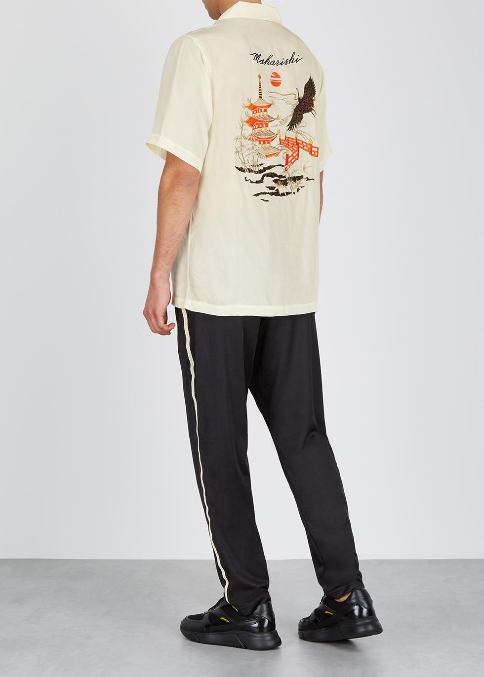 Crane embroidered cream silk shirt - maharishi
