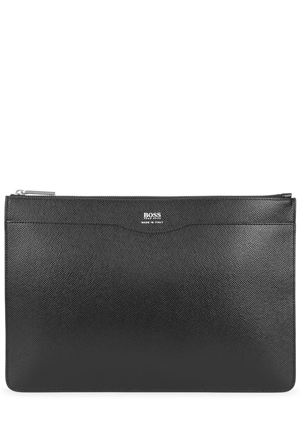 Black pebbled leather pouch - HUGO